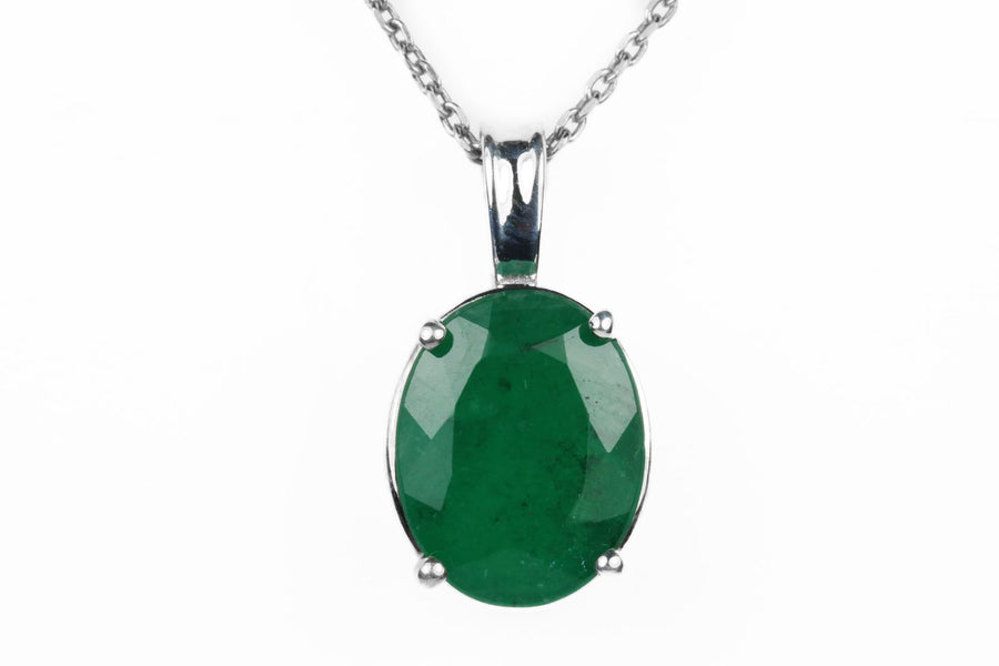 2.79 Carat Dark Oval Green Emerald Sterling Silver Necklace