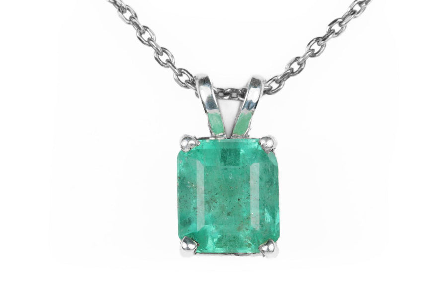 1.85 Carat Colombian Emerald-Emerald Cut Sterling Silver Solitaire Necklace