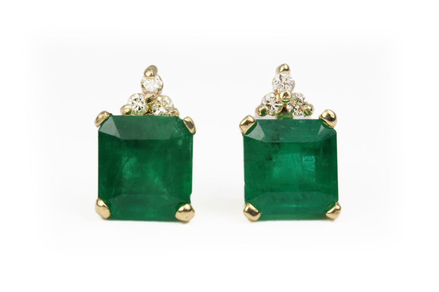 2.92tcw Emerald Earrings, Emerald & Diamond Accent Stud Earrings
