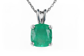 2.05cts Cushion Cut Solitaire Emerald Necklace Sterling Silver