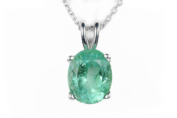2.79 Carat Oval Emerald Sterling Silver Necklace