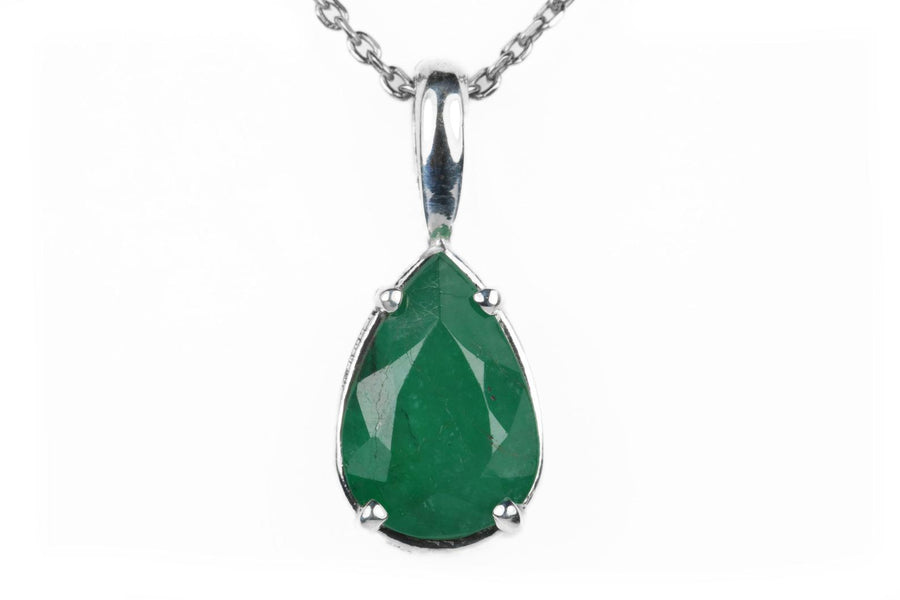2.27 Carat Brazilian Emerald Teardrop Silver Necklace