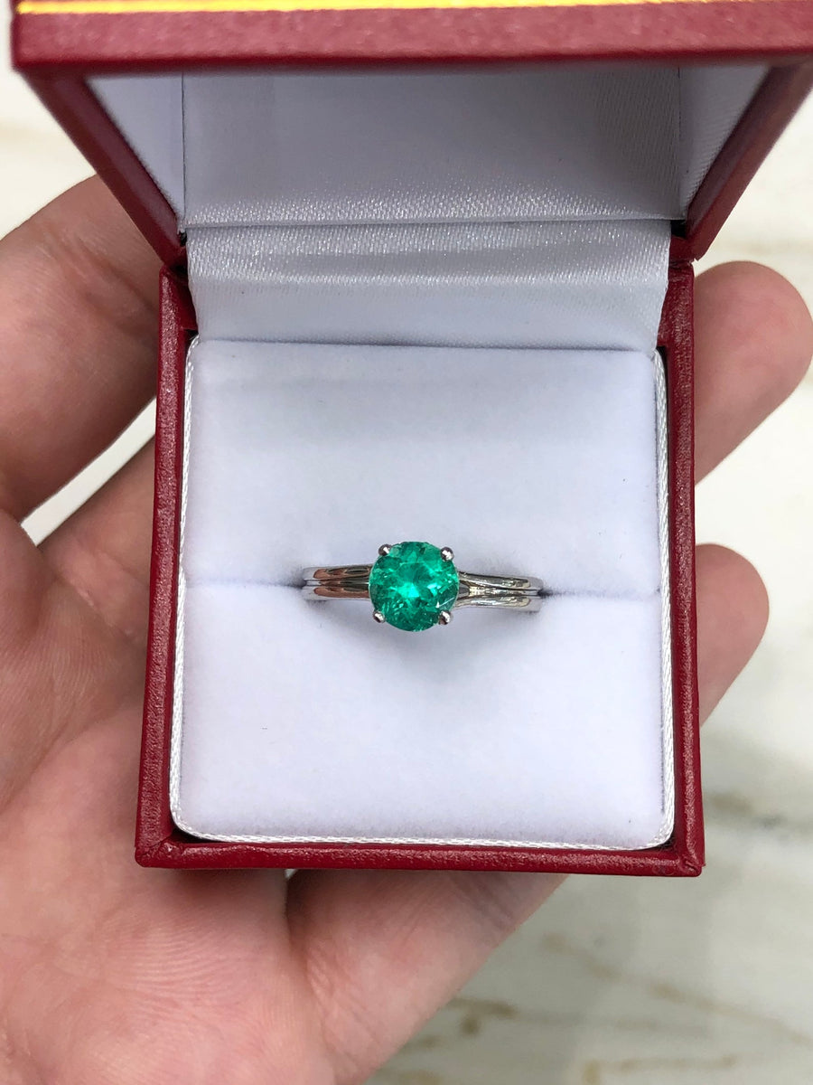 1.31tcw Platinum Round Emerald Solitaire with Diamond Hidden Halo Engagement Ring