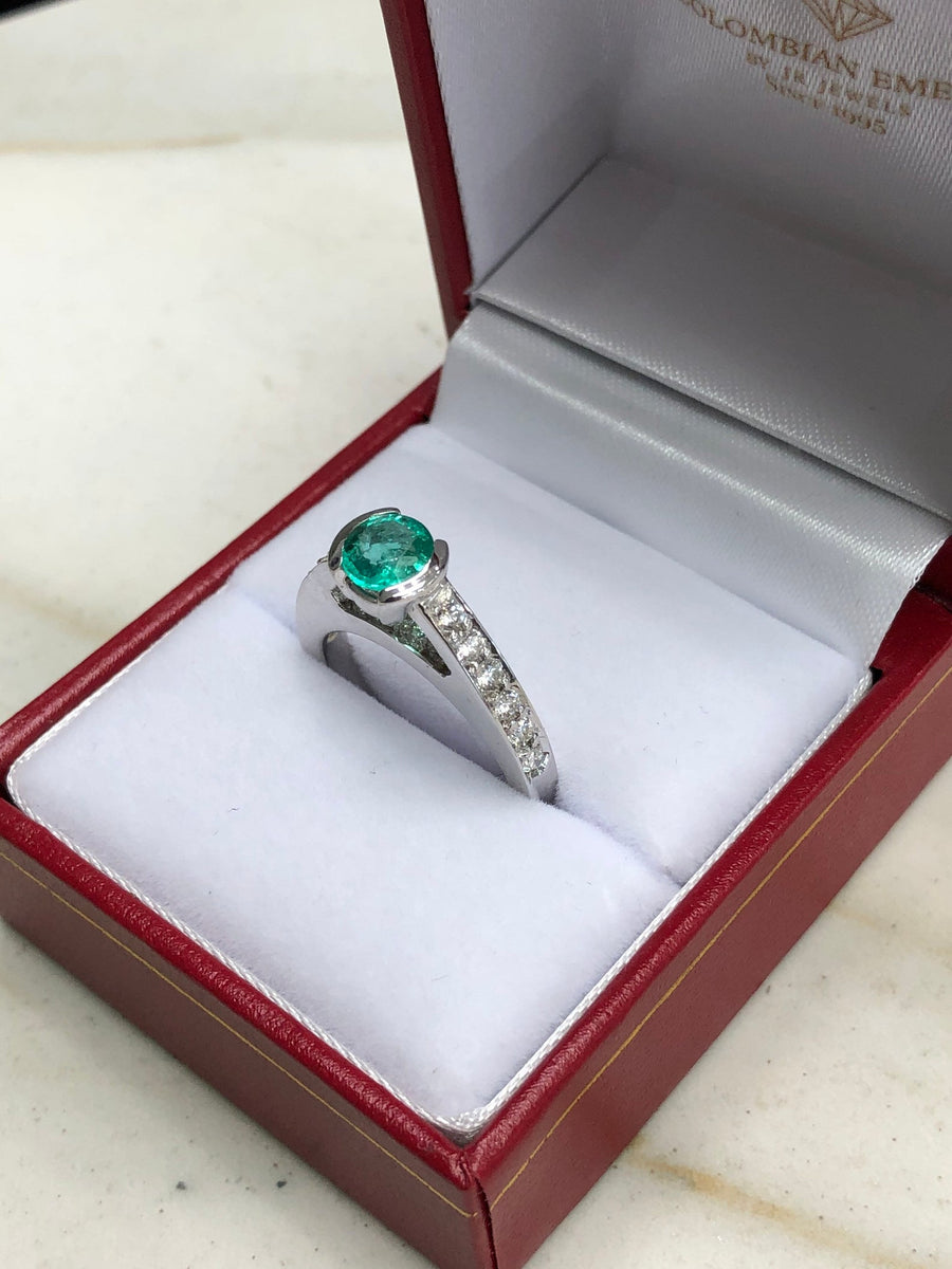 1.29tcw Round Emerald & Diamond White Gold Engagement Ring 14K