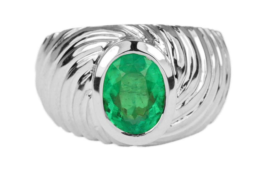 1.90ct Oval Emerald Men's Solitaire Ring 14K