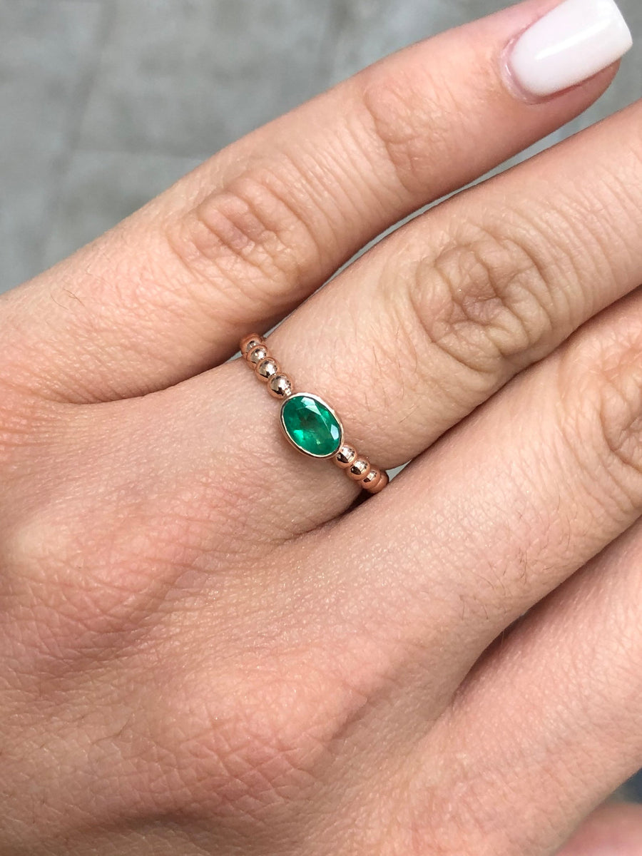 0.75cts Bezel Set Oval Emerald Solitaire 14K Rose Gold Bead Ring