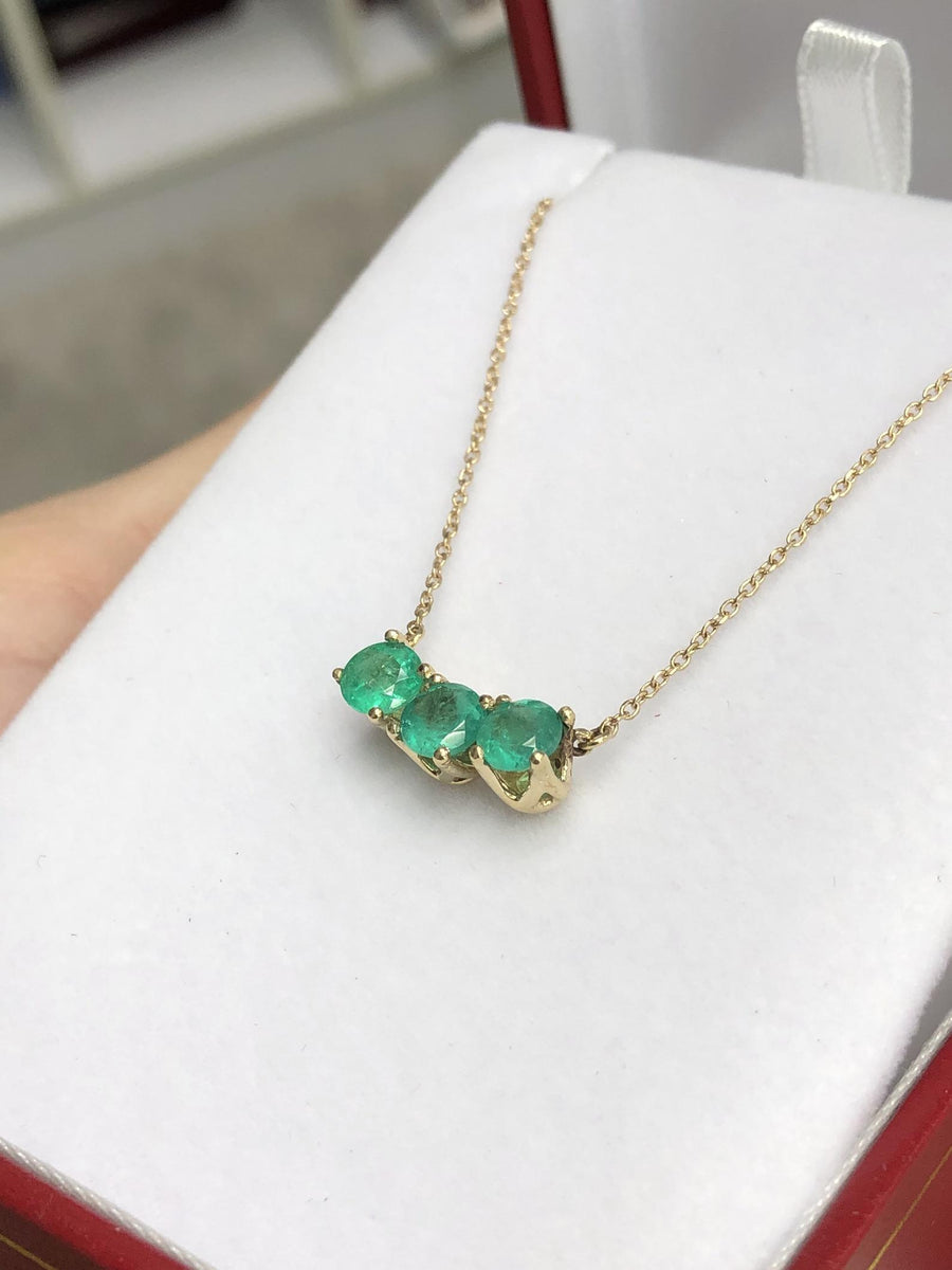1.45tcw Three Stone Emerald Necklace 14K