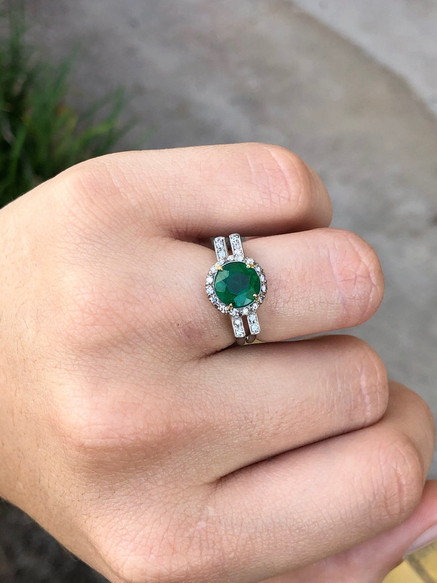 2.20tcw Art Deco Emerald & Diamond Halo Engagement Ring 18K