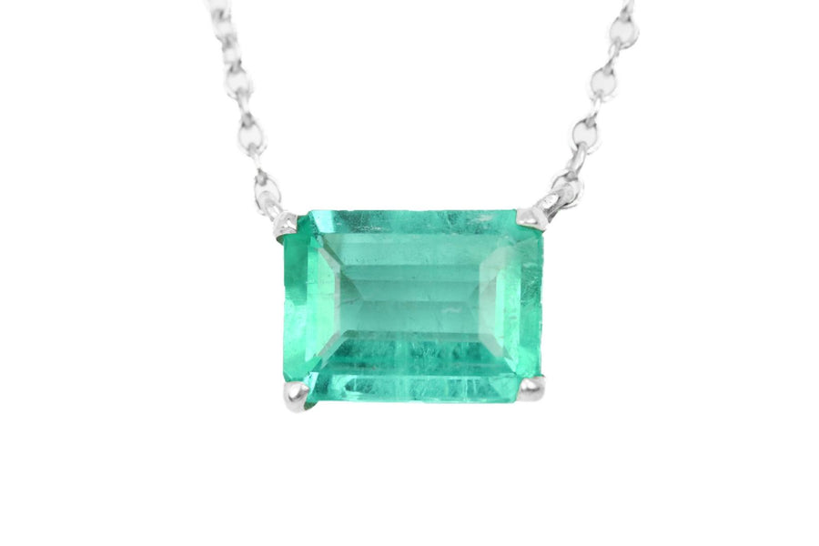 1.50ct .925 East to West Solitaire Emerald Necklace
