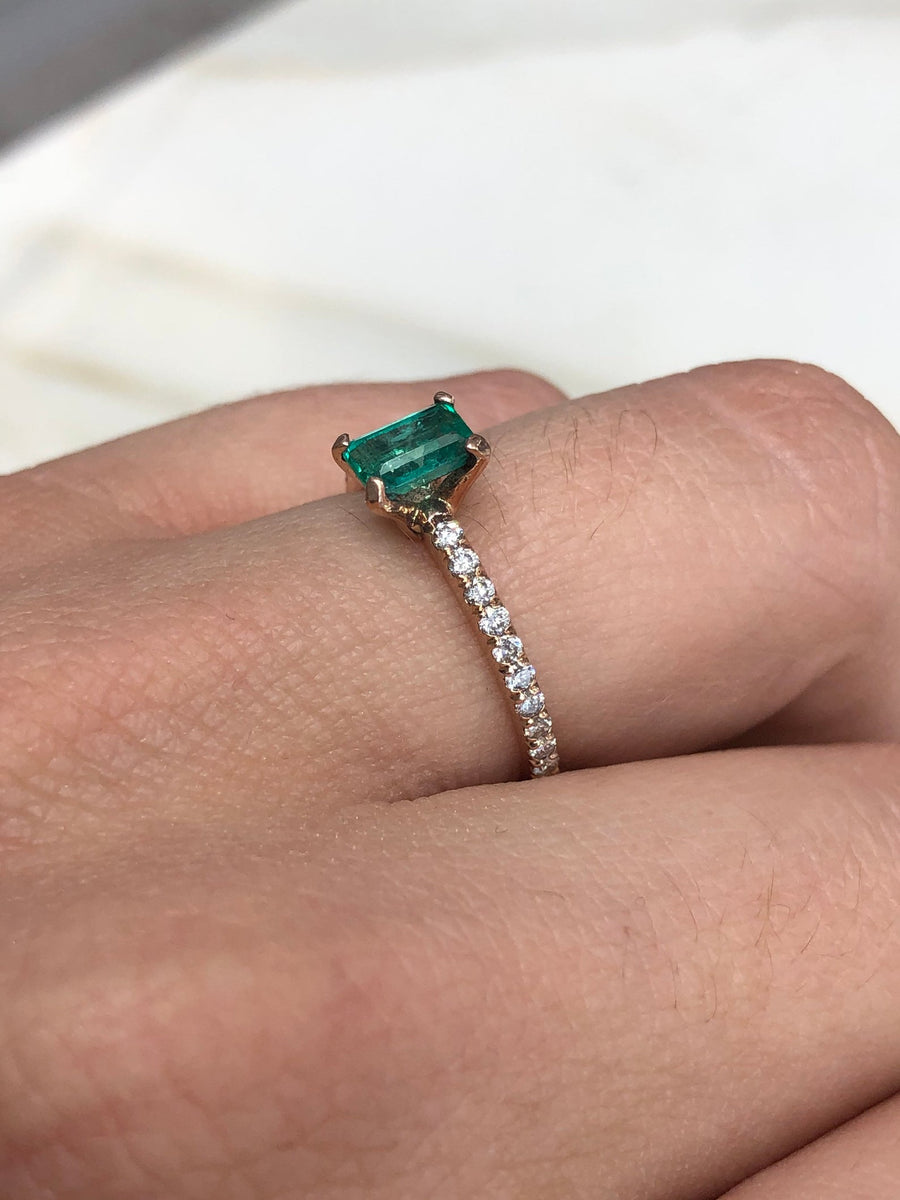 1.10tcw Solitaire Emerald & Diamond Accent Rose Gold Ring 14K