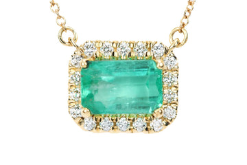 2.18tcw East to West Emerald & Diamond Halo Necklace 14k