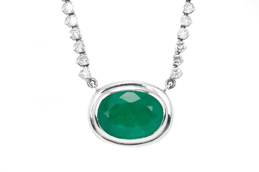 15.81tcw Oval Emerald & Diamond Hepburn Necklace 14k