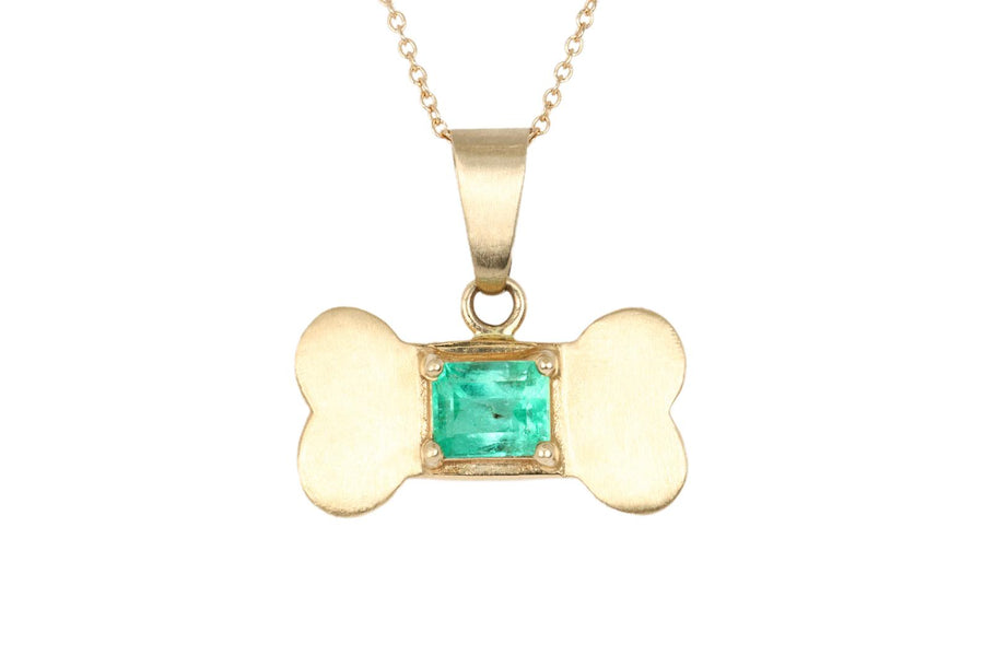 1.50ct Dog Tag Emerald Necklace 14K