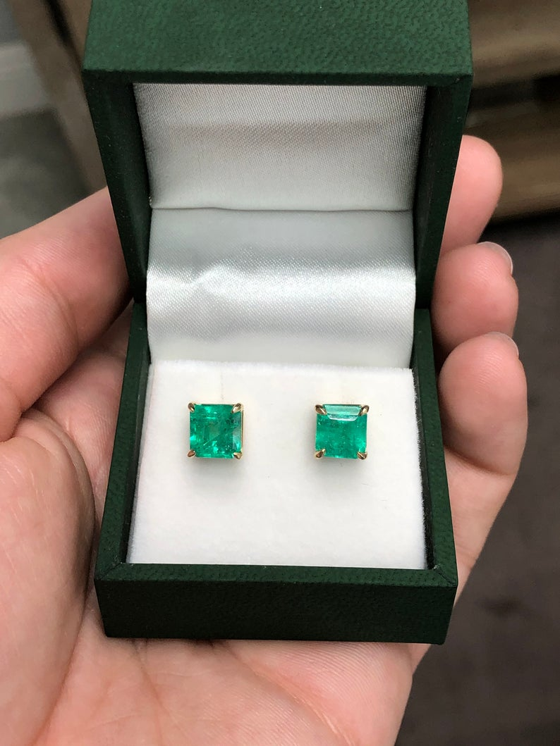 3.41tcw Colombian Emerald Asscher Cut Four Prong Stud Earrings 14K
