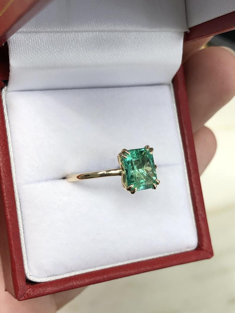 1.90cts Colombian Emerald Solitaire 14K Gold