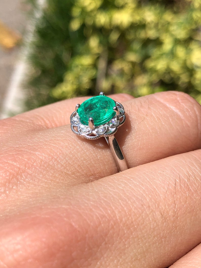 2.35tcw Natural Emerald Oval & Floral Diamond Halo Engagement Ring 14K
