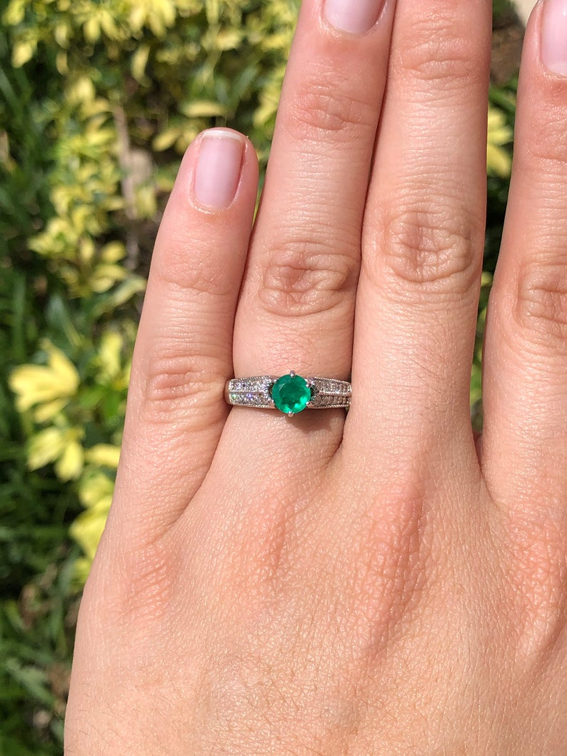 0.93tcw Colombian Emerald & Diamond Engagement Ring
