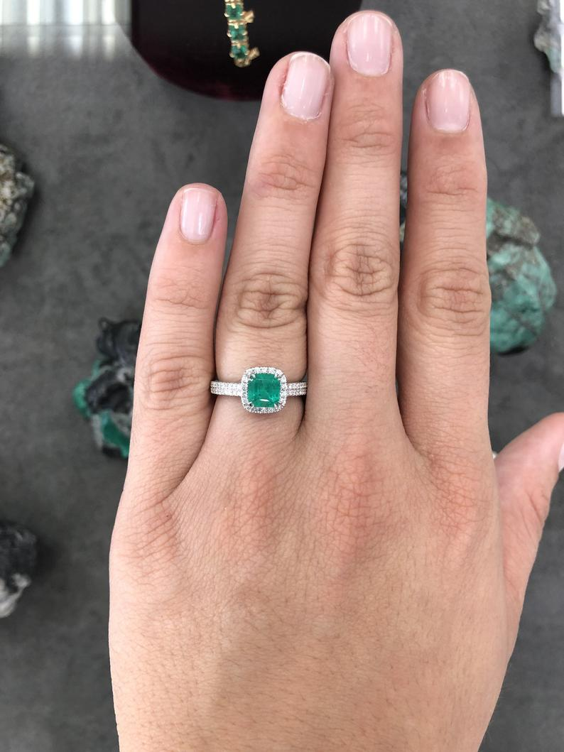 2.99tcw AAA Quality Emerald & Diamond Ring