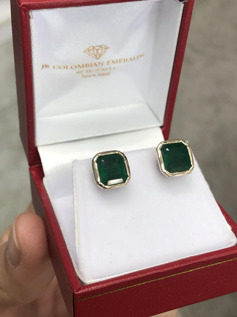 4.46tcw Bezel Set Emerald Earrings