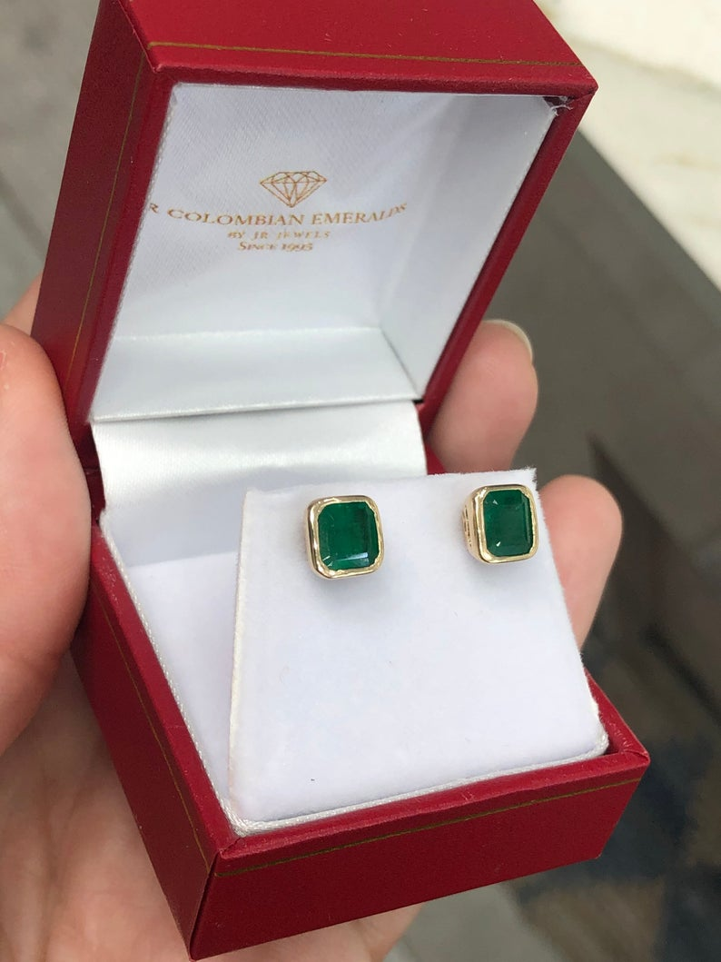 2.20tcw Emerald Earrings Studs