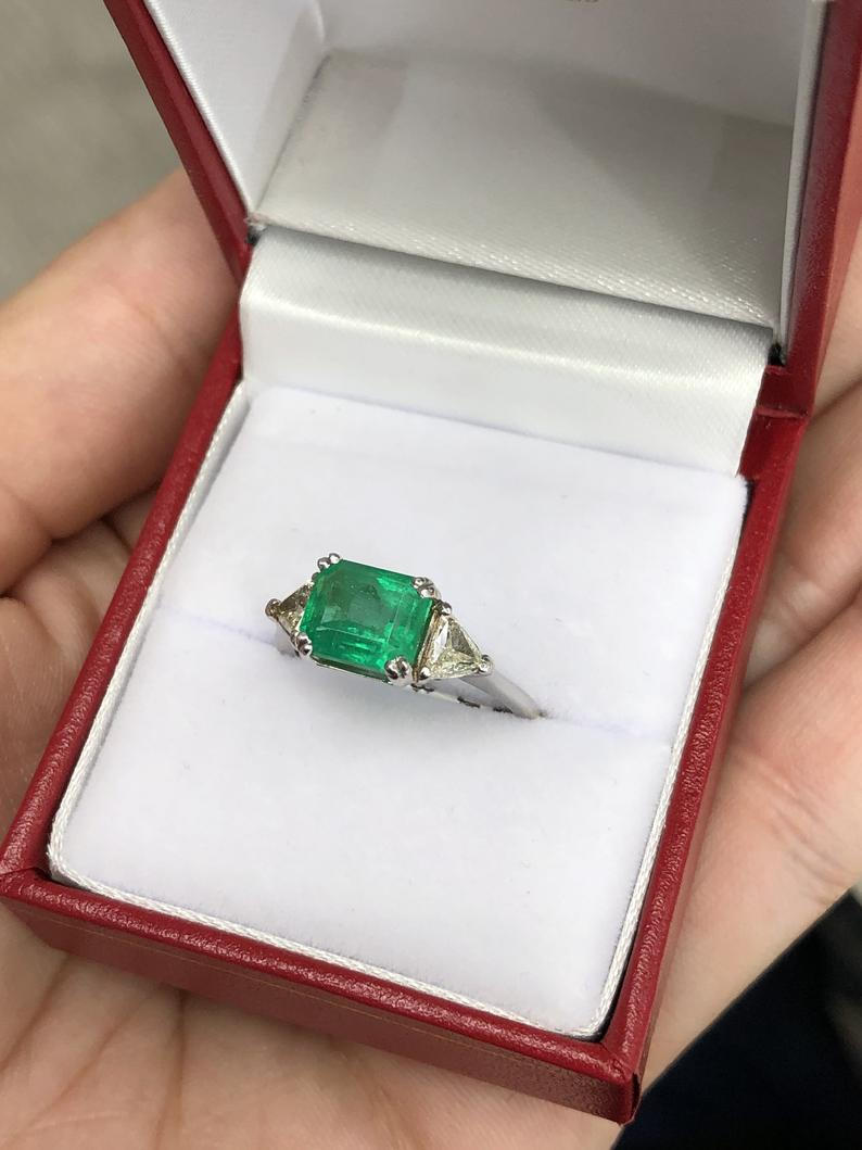 2.71tcw Three Stone Emerald & Diamond Ring