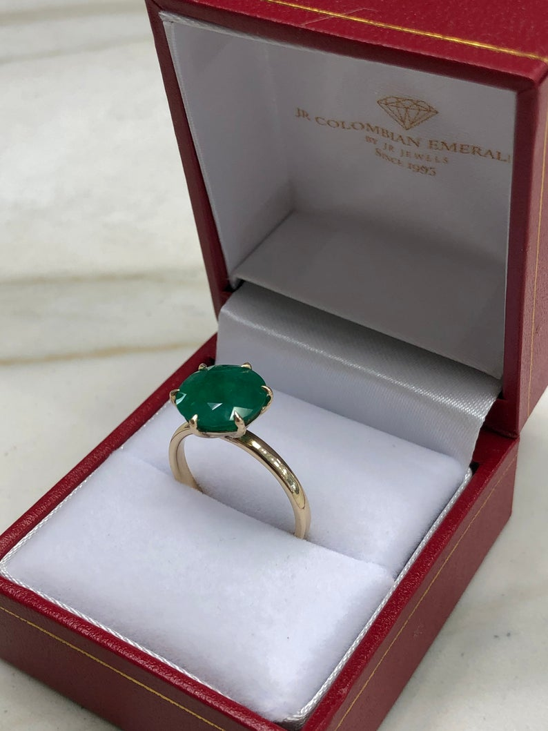 3.50tcw Round Emerald Solitaire Ring