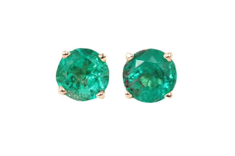 0.86tcw Rose Gold Round Emerald Stud Earrings