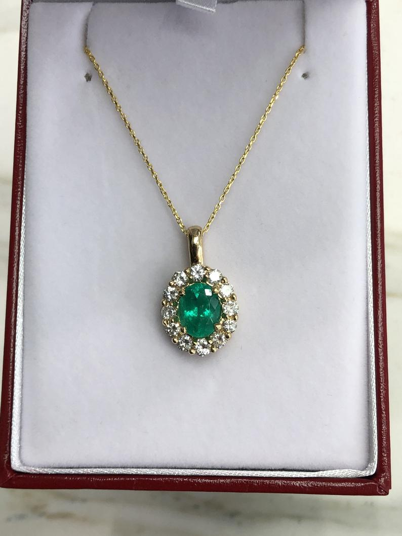3.88tcw Natural Oval Emerald & Diamond Halo Pendant
