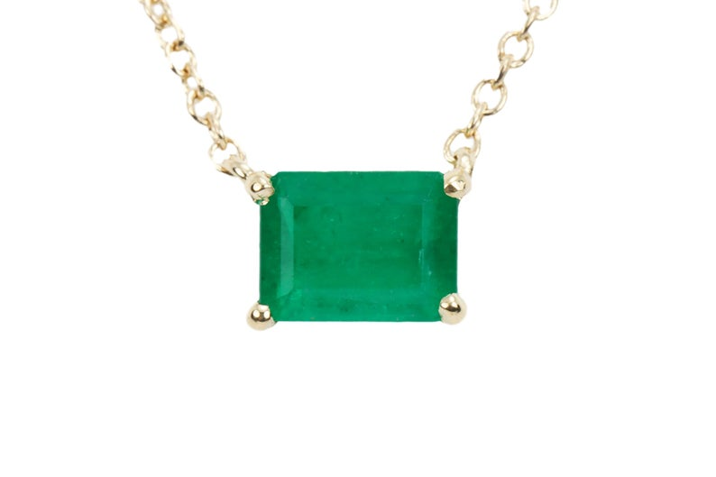 Solitaire East to West Emerald Necklace 14K