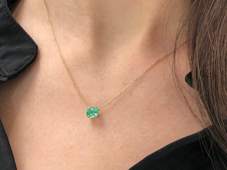 1.10ct Emerald Solitaire Pendant 14k