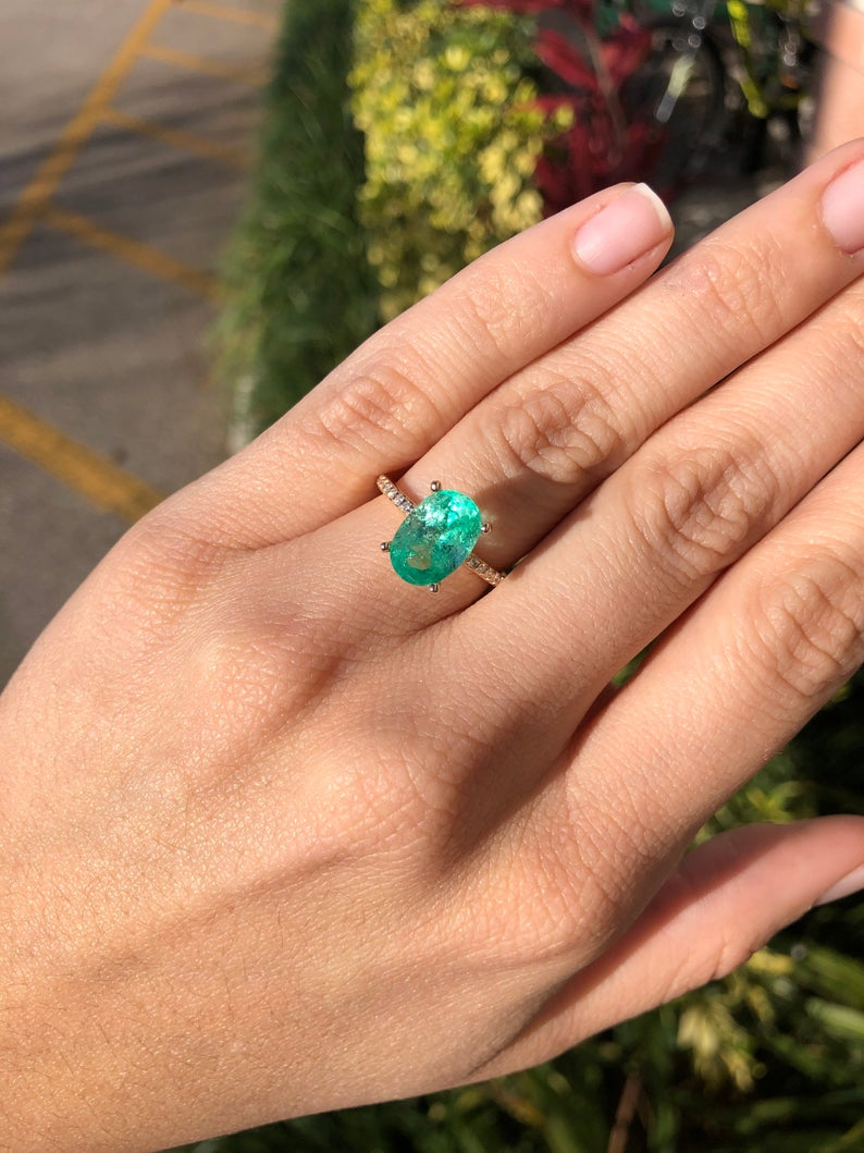 3.10tcw Oval Emerald Engagement Ring 14K CUSTOM WHITE GOLD SETTING FOR Sylvia