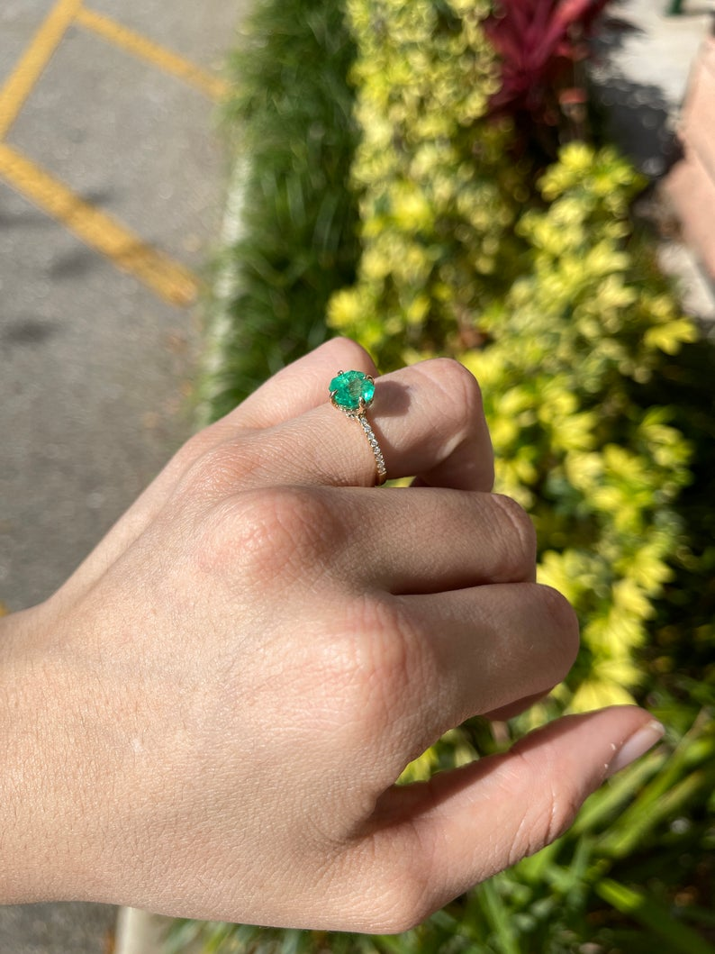 2.25tcw 14K Colombian Emerald Engagement Ring