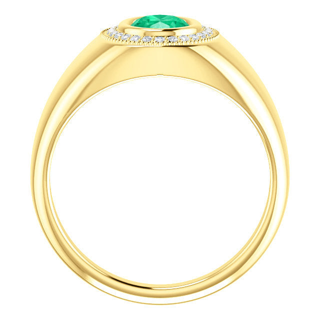 1.50tcw Men's Emerald Oval & Diamond Cluster Ring Gold 18K