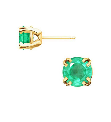 Round Colombian Emerald 4 Prong Claw Basket Earring 14K Gold, Colombian Emerald Earrings, Ladies Emerald Earrings, Emerald Earrings