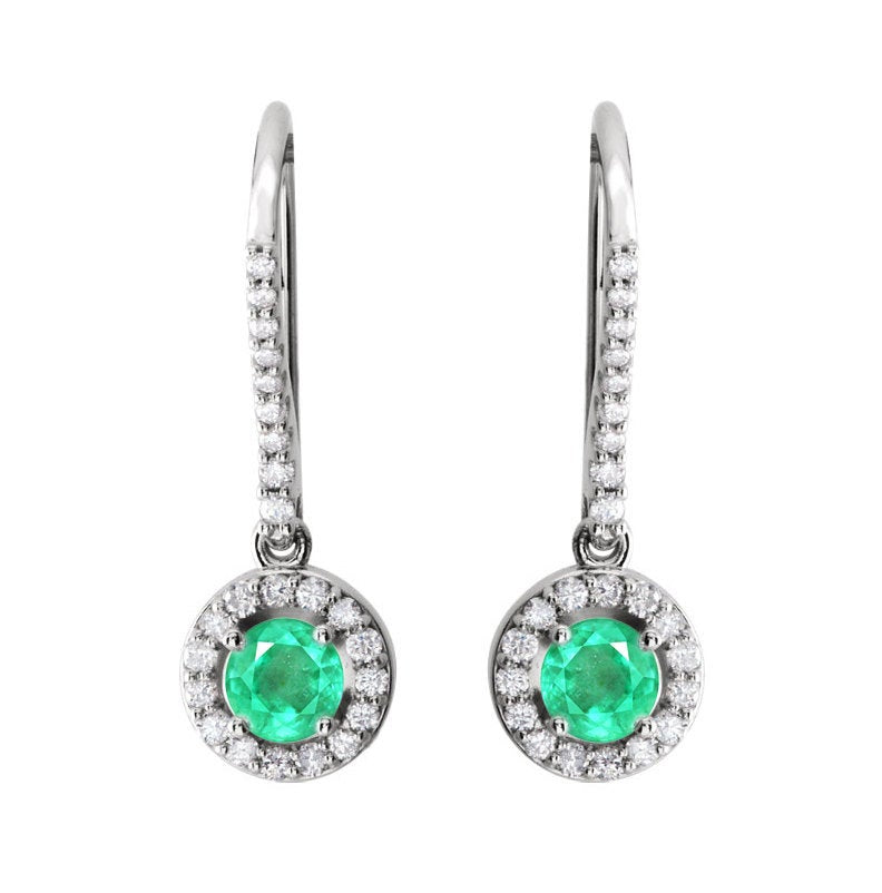 1.20tcw Diamond Halo-Style Emerald Dangle Earrings White Gold 14K