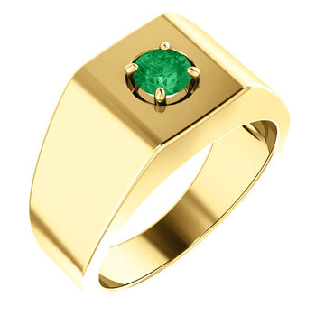 Round Natural Emerald Men's Solitaire Ring 18K