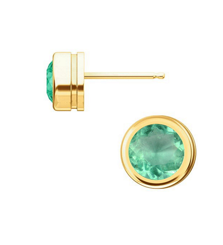 2.0 Carat 6.4mm Round Bezel Solitaire Natural Emerald Earrings