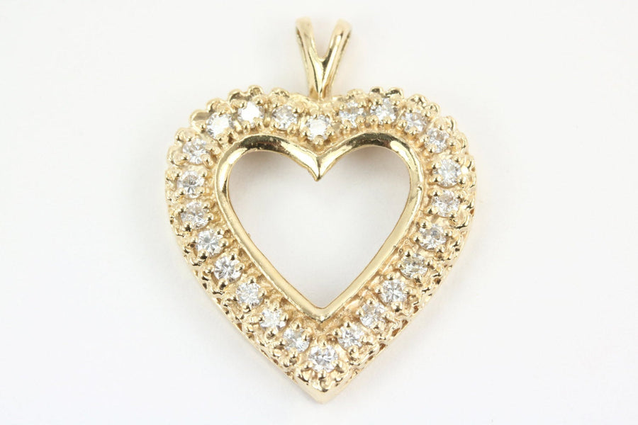 1/2tcw Diamond Heart Pendant Anniversary Gift Yellow Gold 14K