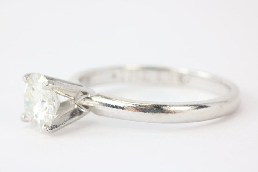 1.0 Carat Diamond Solitaire Engagement Ring Platinum & Gold