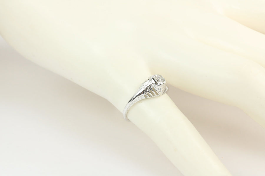 0.20tcw Old European Cut Diamond Solitaire Engagement Ring Gold 18K