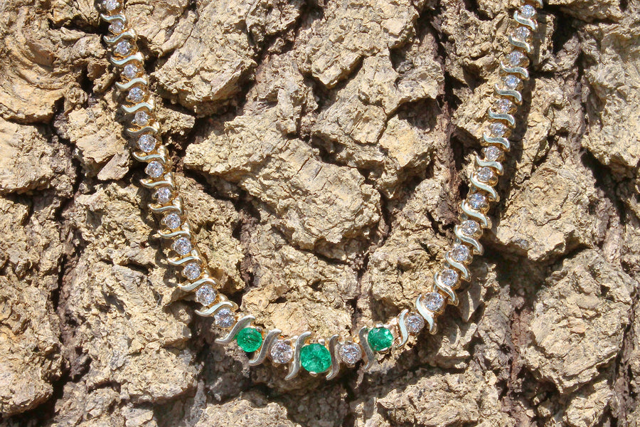 5.25tcw Emerald & Diamond Gold Riviera Necklace 14K