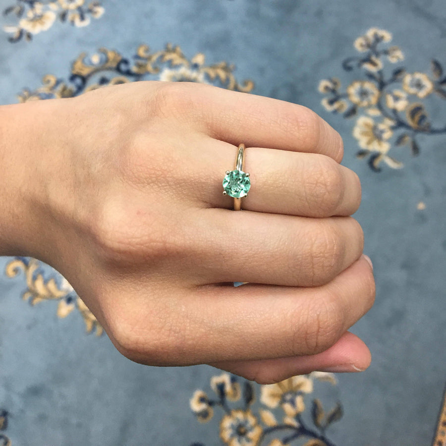 1.0 Carat Colombian Emerald Round Cut Solitaire Engagement Ring 14K