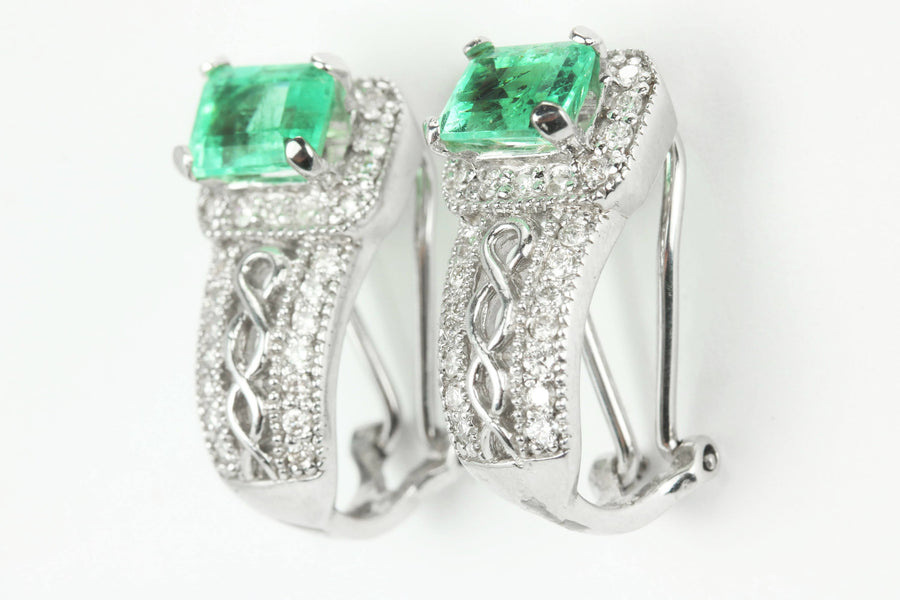 4.25tcw Colombian Rectangle Cut Emerald & Diamond Omega Earrings, Round Diamond And Emerald Huggie Dangle Earrings, White Gold 14K