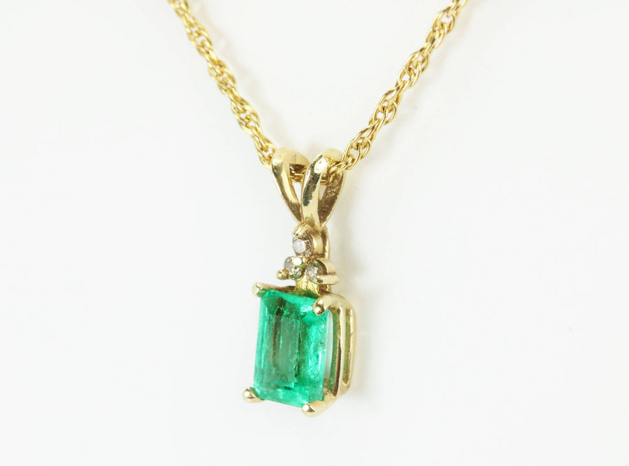 1.27tcw Colombian Emerald & Diamond Accent Pendant