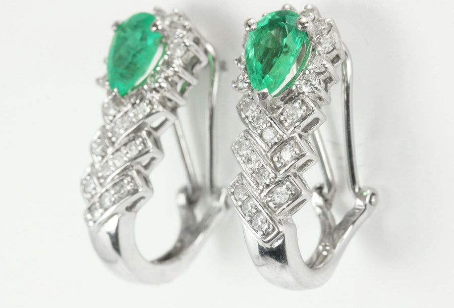 3.15tcw Pear Colombian Emerald & Round Diamond Drop Omega Earrings 14k
