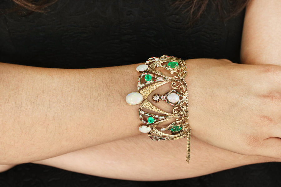 15.90tcw Crown Opal Emerald And Diamond Bracelet, Queen Emerald And Diamond Bangle, Opal And Diamond Bracelet, Emerald Bracelet, Gold 14K