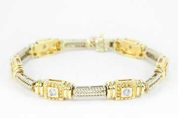 0.63tcw Anniversary Diamond Tennis Bracelet Two-Toned 14K