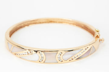Mother of Pearl & Diamond Rose Gold Bangle 14K