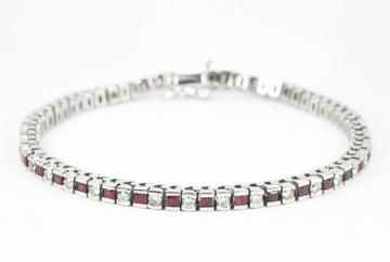 0.61tcw Ruby & Diamond Tennis Bracelet White Gold 14K