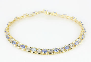 3.0tcw Oval Tanzanite & Diamond Tennis Bracelet 14K Gold